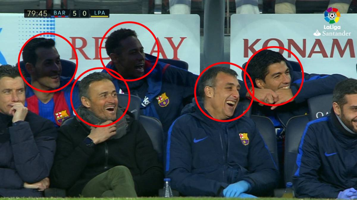 Aleix Vidal's first goal for Barcelona has bench in fits of giggles