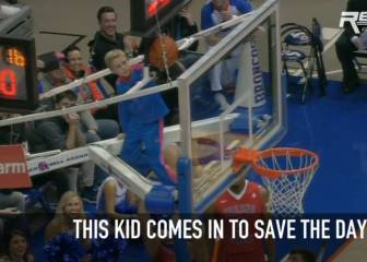 Kid saves the day in college basketball game