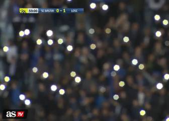 Bastia fans use phones after floodlight fail