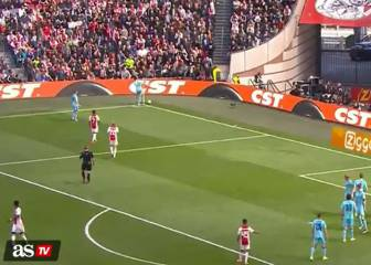 Feyenoord player kicks ball at Ajax fans