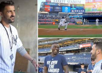 Villa throws first pitch at New York Yankees baseball game