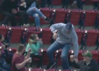 Fenway Park scare after catch attempt leads to fan tumble