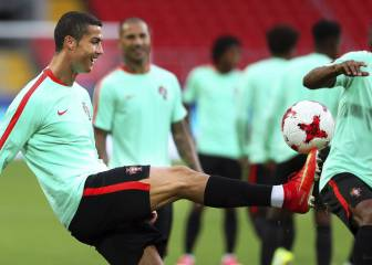 Cristiano Ronaldo all smiles in Portugal training