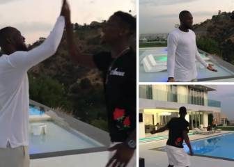 Pogba cuts a few shapes by the pool on hearing Lukaku news