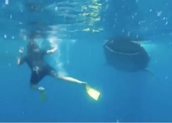 Braver than Portugal 'Panenka'... Ramos swims with the sharks!