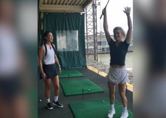 Bouchard drops racket for a 4-iron: happy reaction!