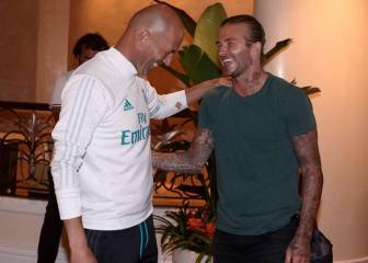 David Beckham visits the Real Madrid squad in Los Angeles