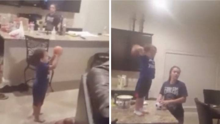 Two-year-old basketball talent\'s sharp-shooting goes viral