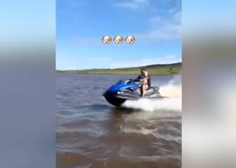 Sea-faring Diego Costa treats his pet dog to a jet ski ride