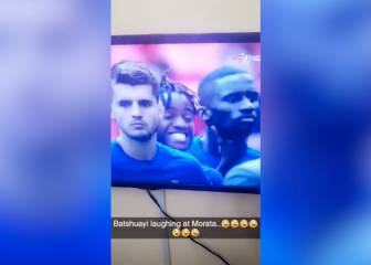 Batshuayi tries not to laugh after Morata's penalty miss