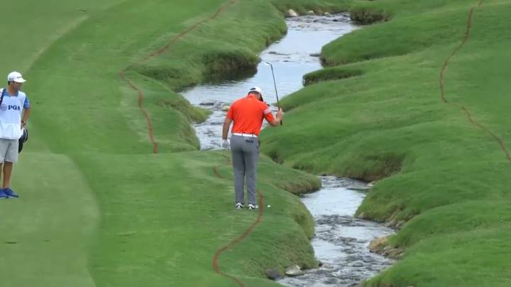 Jon Rahm with the sweetest backwards facing shot
