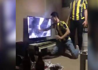 Fenerbahce fans loses the plot and destroys LCD TV