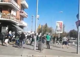 Racing Santander and Alavés Ultras in streetfight