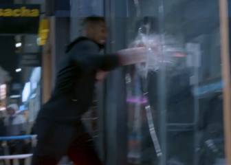 Boxer Anthony Joshua punches in shop window in Amsterdam