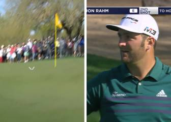 Jon Rahm hits one in a million shot... and it costs him a birdie