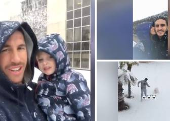Real Madrid and Atlético players enjoy snowfall in the capital