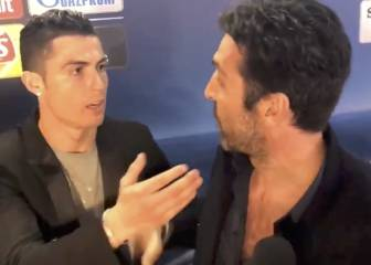 Cristiano stops to give Buffon a hug in the Mixed Zone