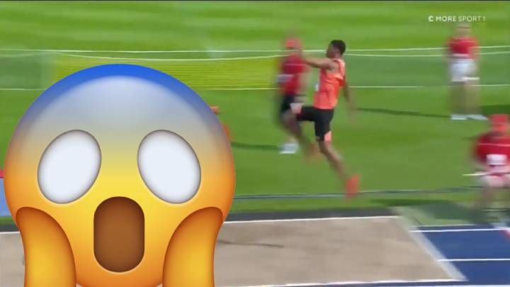 Long jumper almost overshoots pit with monster 8.83m leap