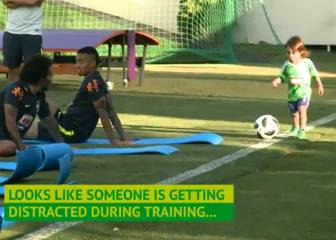 Marcelo distracted by son at Brazil training