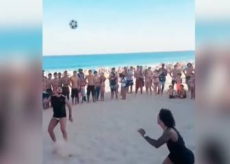 Beach samba: Marcelo in full footvolley mode on Ipanema