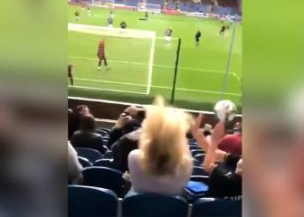 Burnley supporter takes ball in face during warm-up