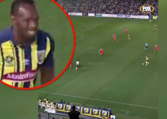Bolt shows off poor first touch and has a chuckle when it lets him down