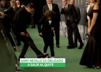 Marcelo's son gets cheeky with Gary Neville at The Best