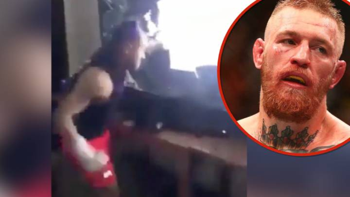 Guy practices MMA on his TV set after McGregor defeat